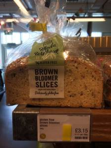 An M&S loaf (only eight slices) of Gluten-Free Brown Bloomer bread selling for £3.15. That comes to just under 40p per slice of bread.'
