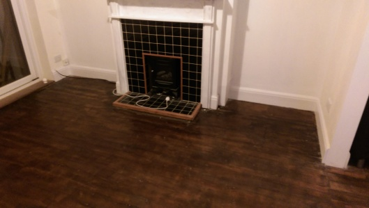 Completed floor and fireplace