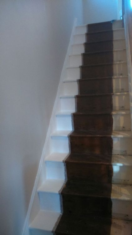 Stairs with one side painted (half a job Steve, that's half a job)
